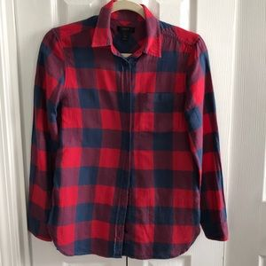 J. Crew blue red buffalo check flannel shirt 0 top